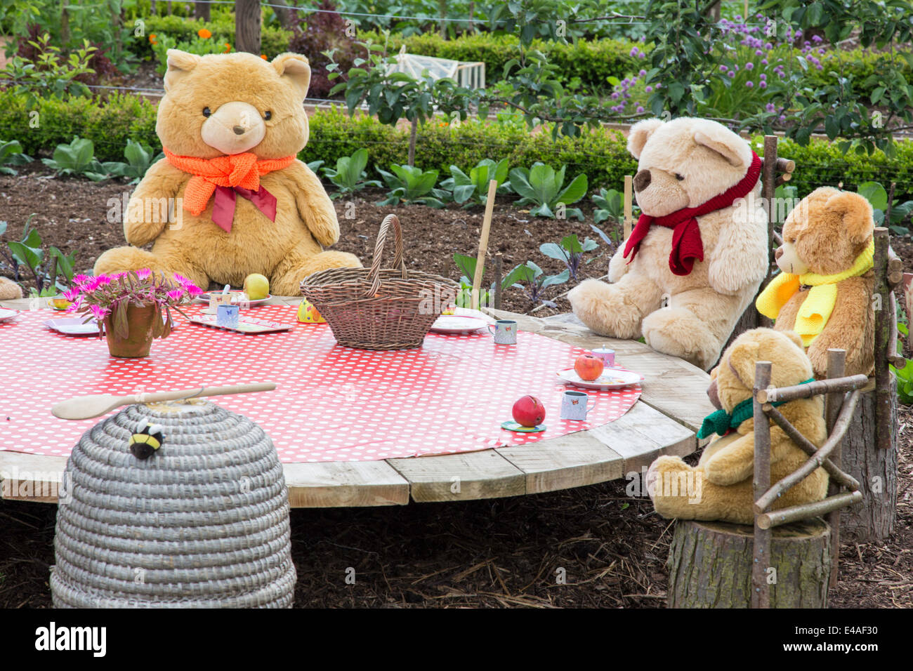 Teddy Bears Picnic In A Garden, England, UK