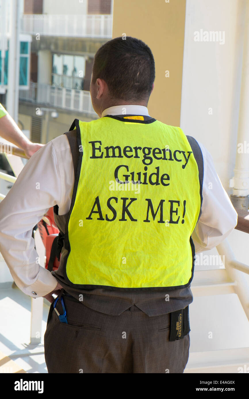 Emergency Guide Royal Caribbean Cruise Ship Tampa Florida US Brilliance of the Seas - Stock Image