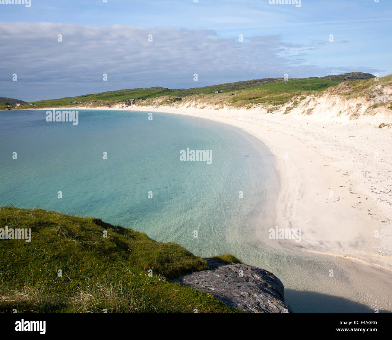 Sandy beach on Vatersay Isle of Barra, Outer Hebrides, Scotland - Stock Image