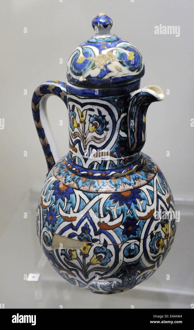 Ewer. Glazed. Kutahya. 19th-20th centuries. Tiled Kiosk Museum. Archaeological Museum. Istanbul. Turkey. Stock Photo