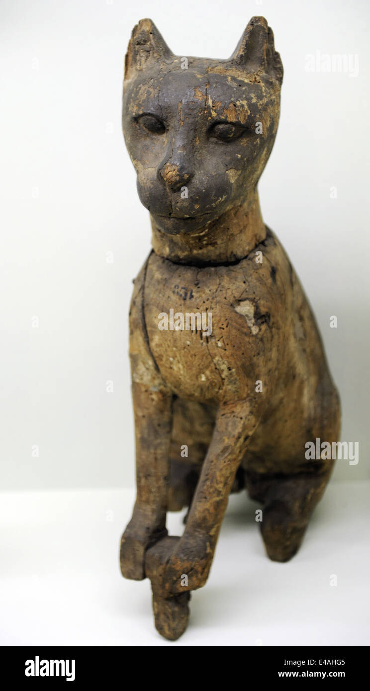 Wooden statuette of a cat depicting goddess Bastet. Archaeological Museum. Istanbul. Turkey. - Stock Image