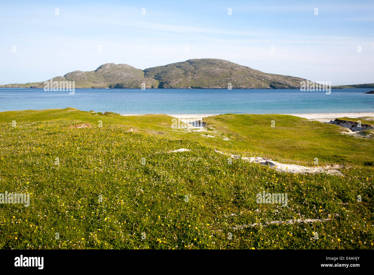 Island of Sandray from Vatersay Isle of Barra, Outer Hebrides, Scotland - Stock Image