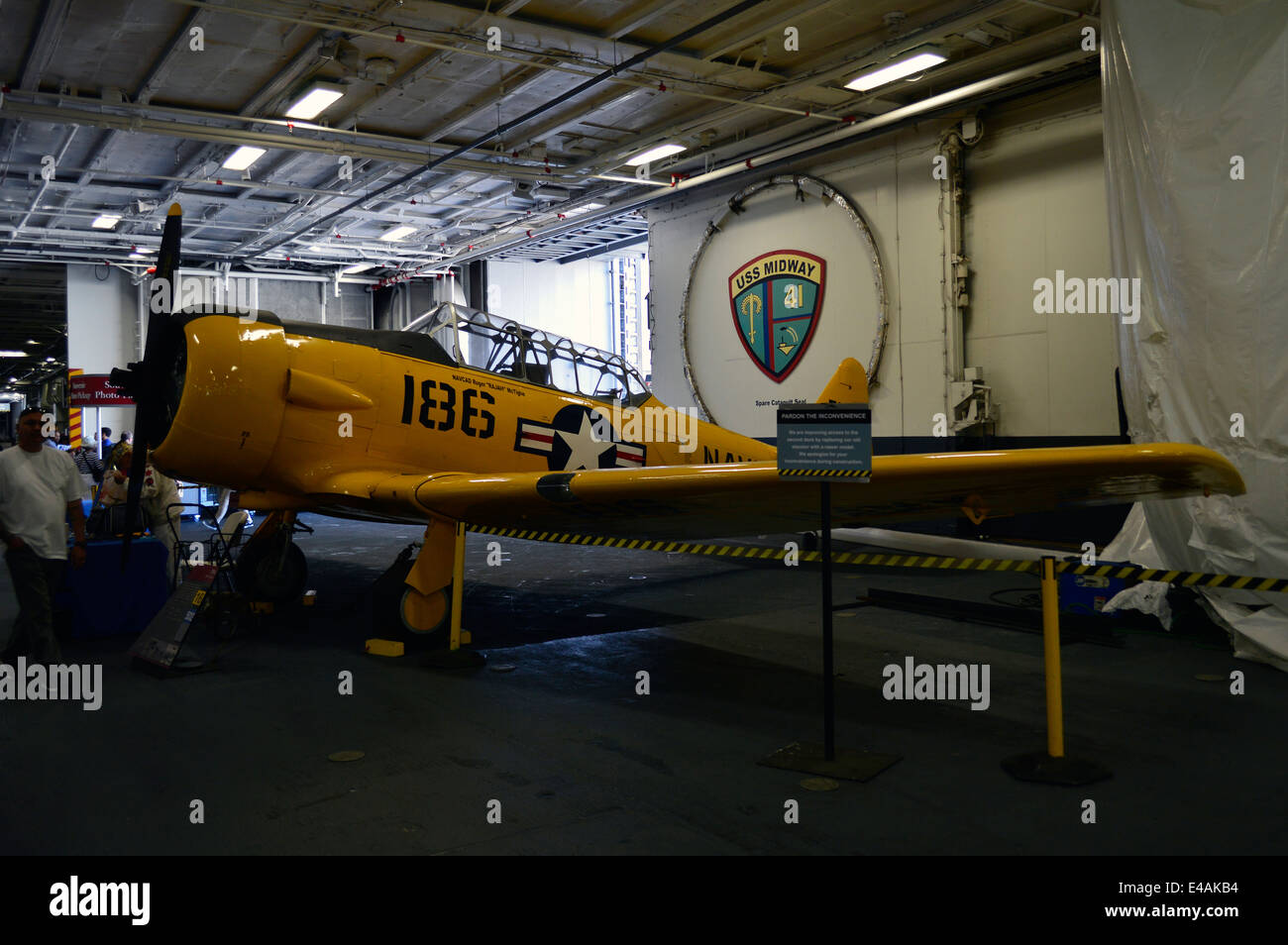 SNJ Texan in the Hanger deck of USS Midway in San Diego harbour. - Stock Image