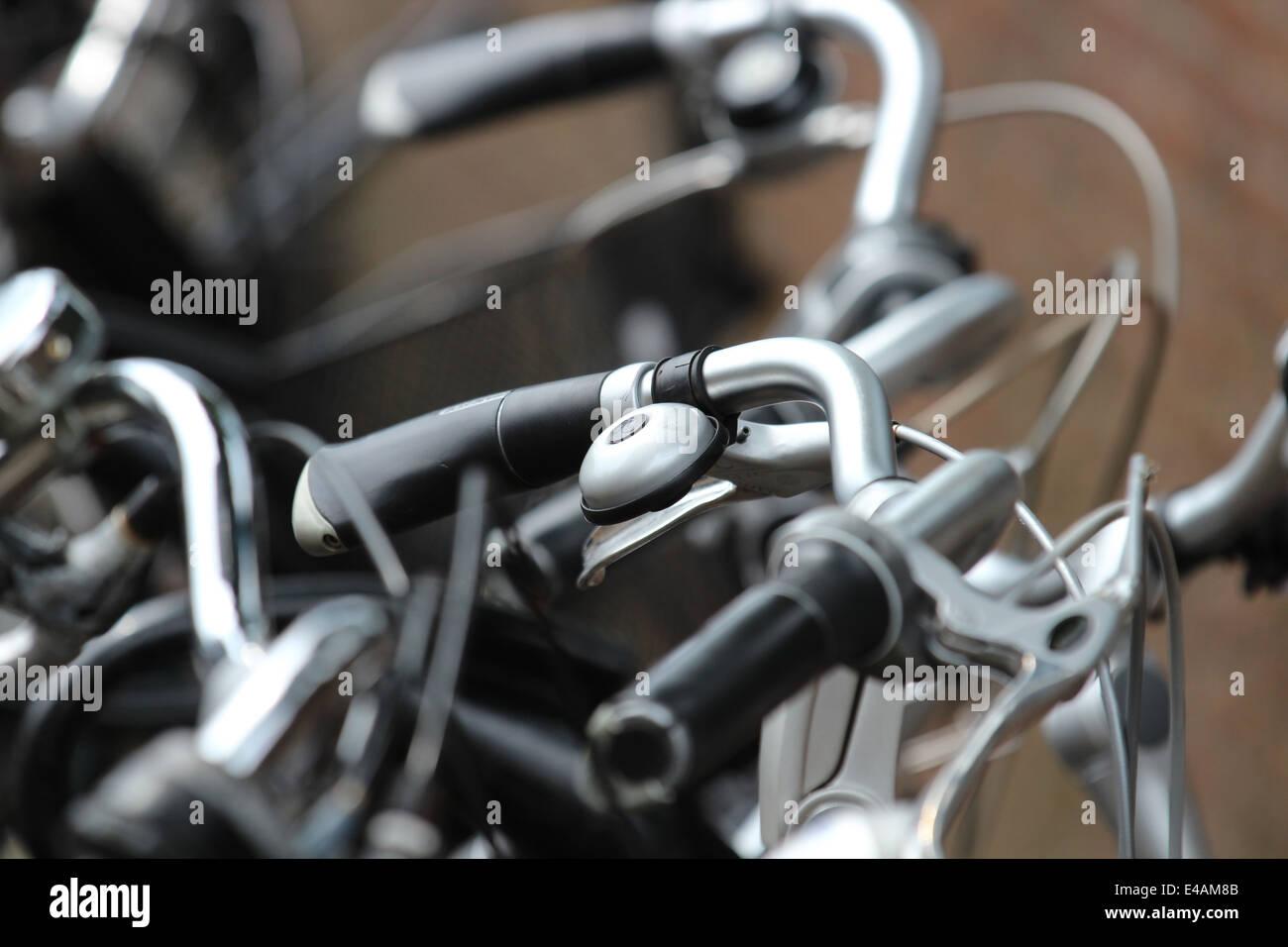 Close up of bike handlebars and bell Stock Photo
