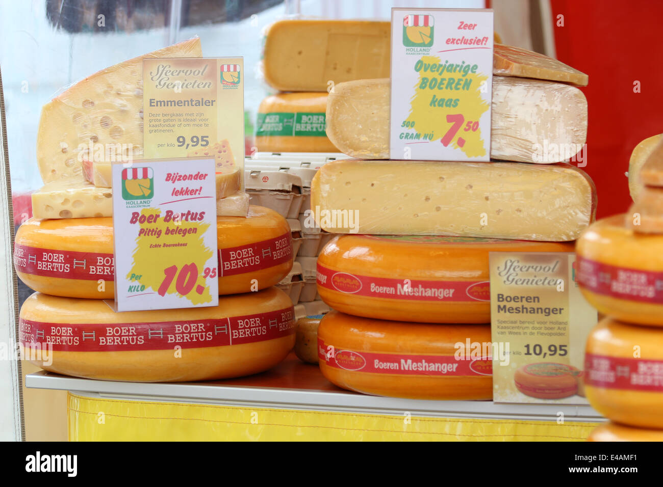 Wheels of cheese for sale Stock Photo