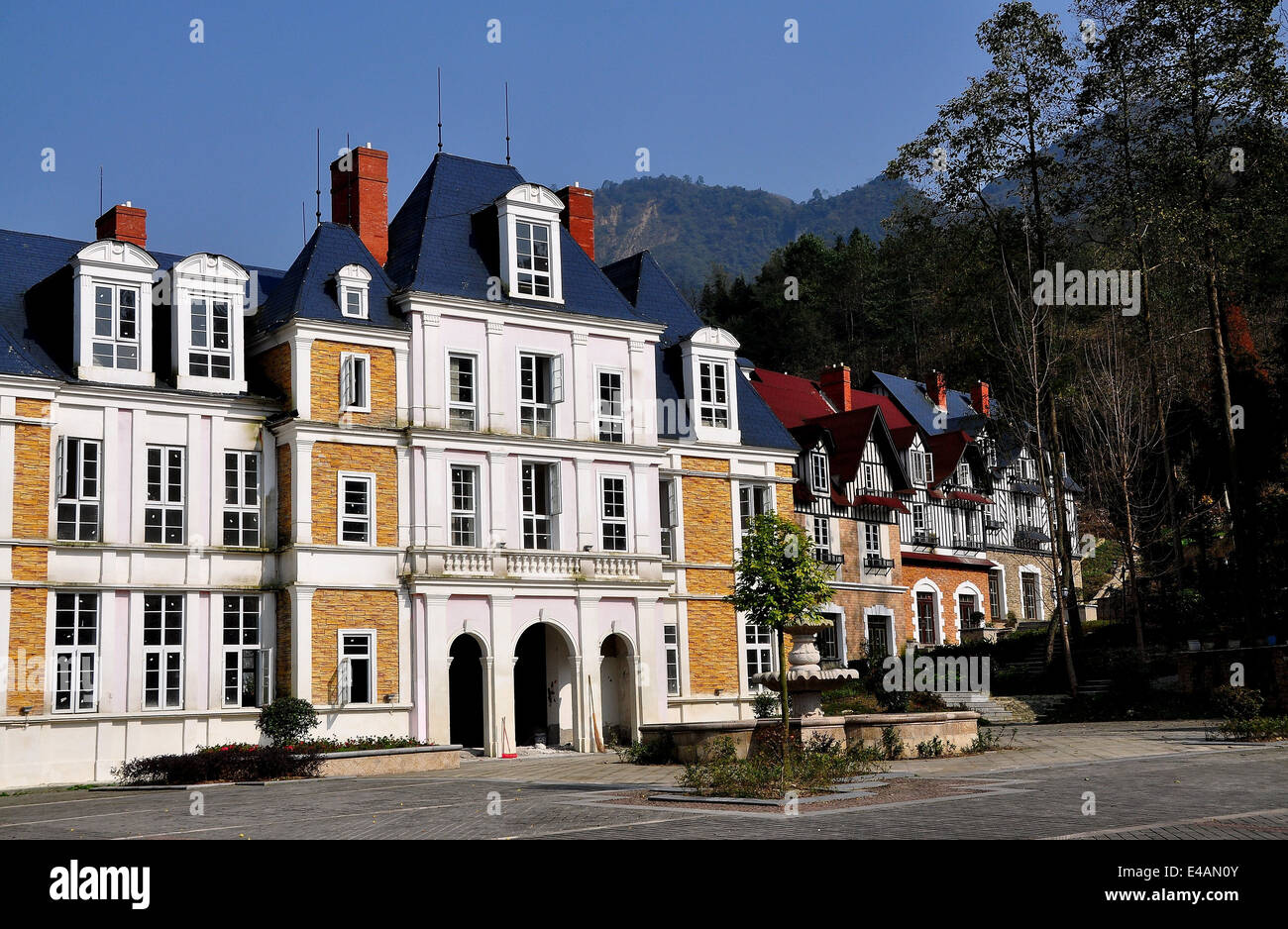 BAI LU / SICHUAN, CHINA: Normandie style faux chateau and half-timbered manor houses in the recreated Sino-French Stock Photo