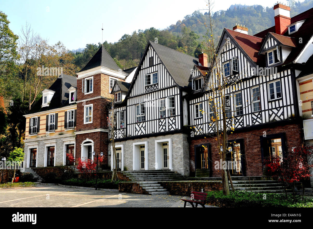 BAI LU, CHINA: French style half-timber manor houses style in the recreated Sino-French village Stock Photo