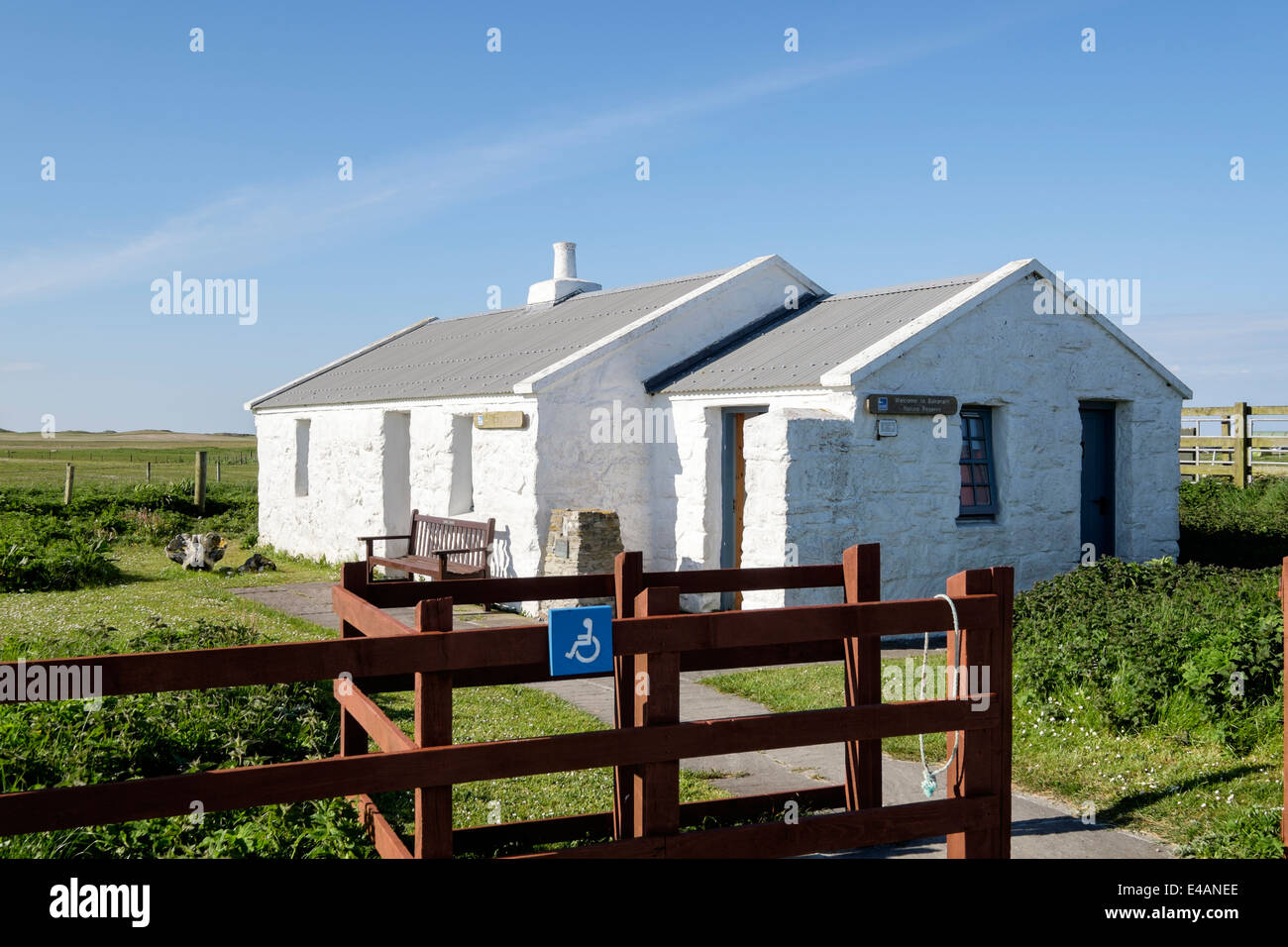 Visitors information centre at Balranald RSPB Nature Reserve, Hougharry, North Uist, Outer Hebrides, Western Isles, - Stock Image