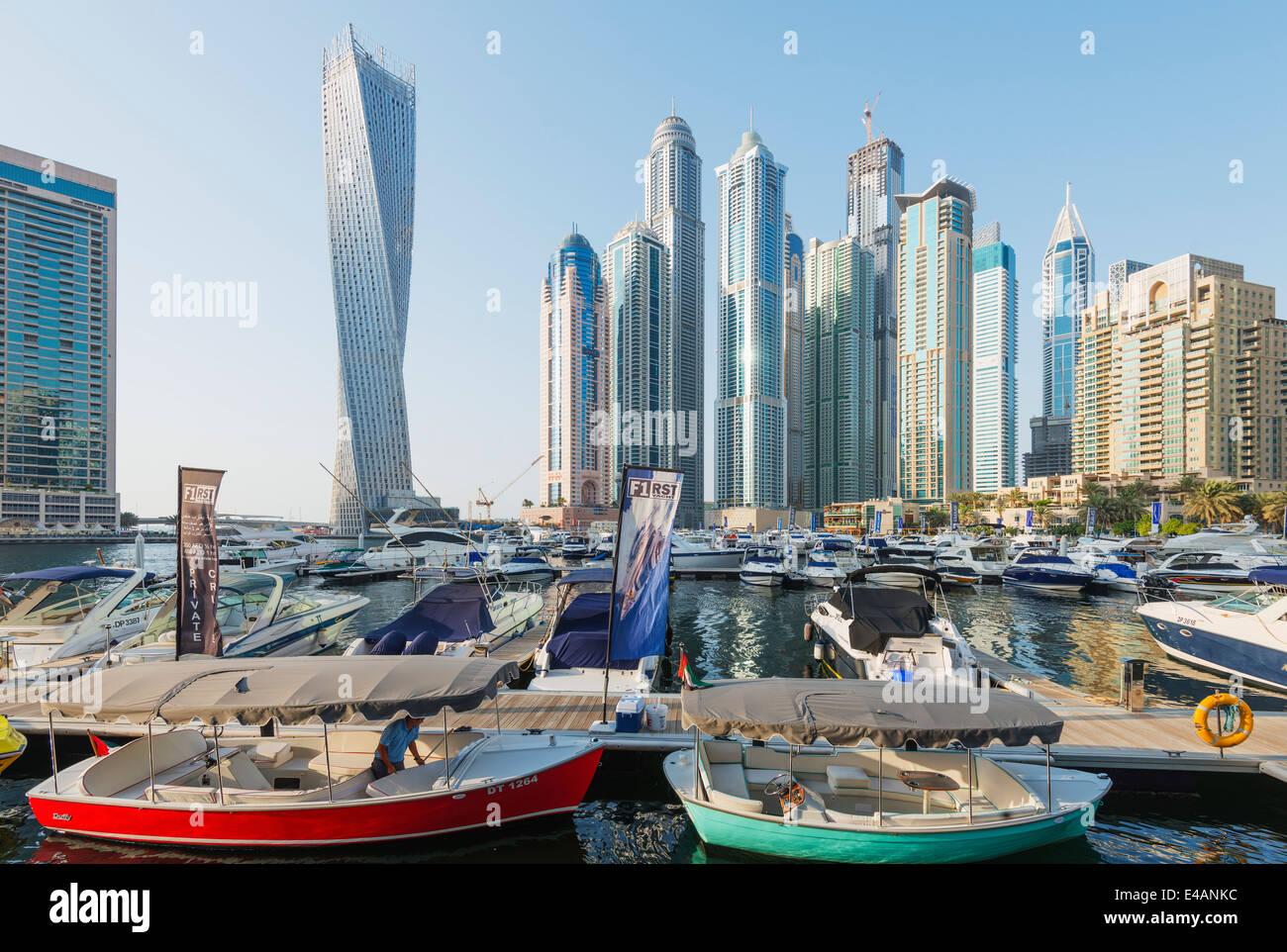 Middle East, United Arab Emirates, Dubai, Dubai Marina buildings and Cayan Tower - Stock Image
