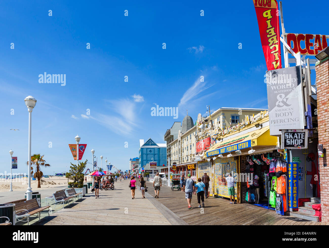 The boardwalk at Ocean City, Worcester County, Maryland, USA - Stock Image