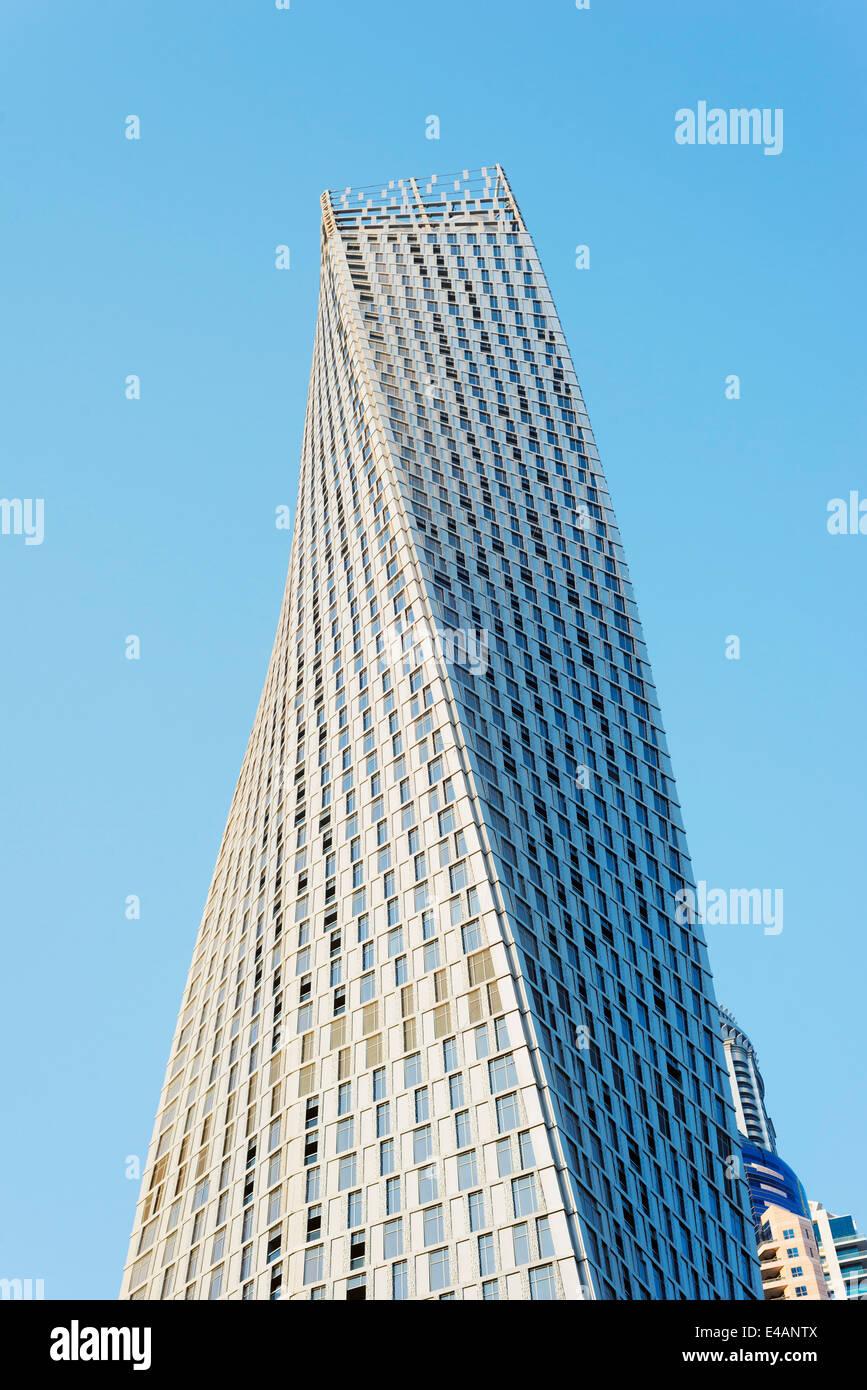Middle East, United Arab Emirates, Dubai, Dubai Marina Cayan Tower - Stock Image