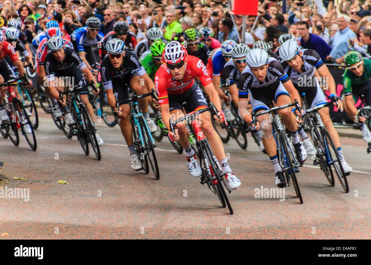 f8f54ff26 Tour de France 2014. Lars Bak of team Lotto-Belisol leads the third stage