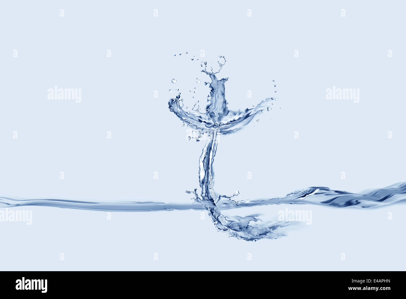 A cross made of Water floating on water. - Stock Image