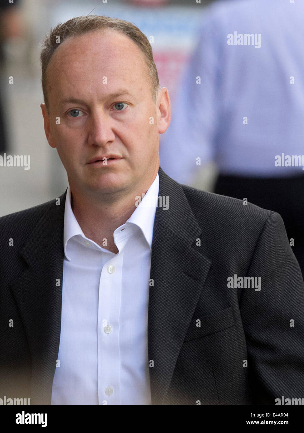 London UK. 7th  July 2014. Gary Clarence arrives at the Old Bailey as his wife Tania Clarence aged 42 admits killing Stock Photo
