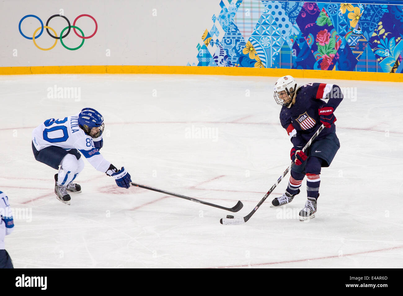 22d1823b9 Venia Hovi (FIN) and Amanda Kessel (USA) during ice hockey game at