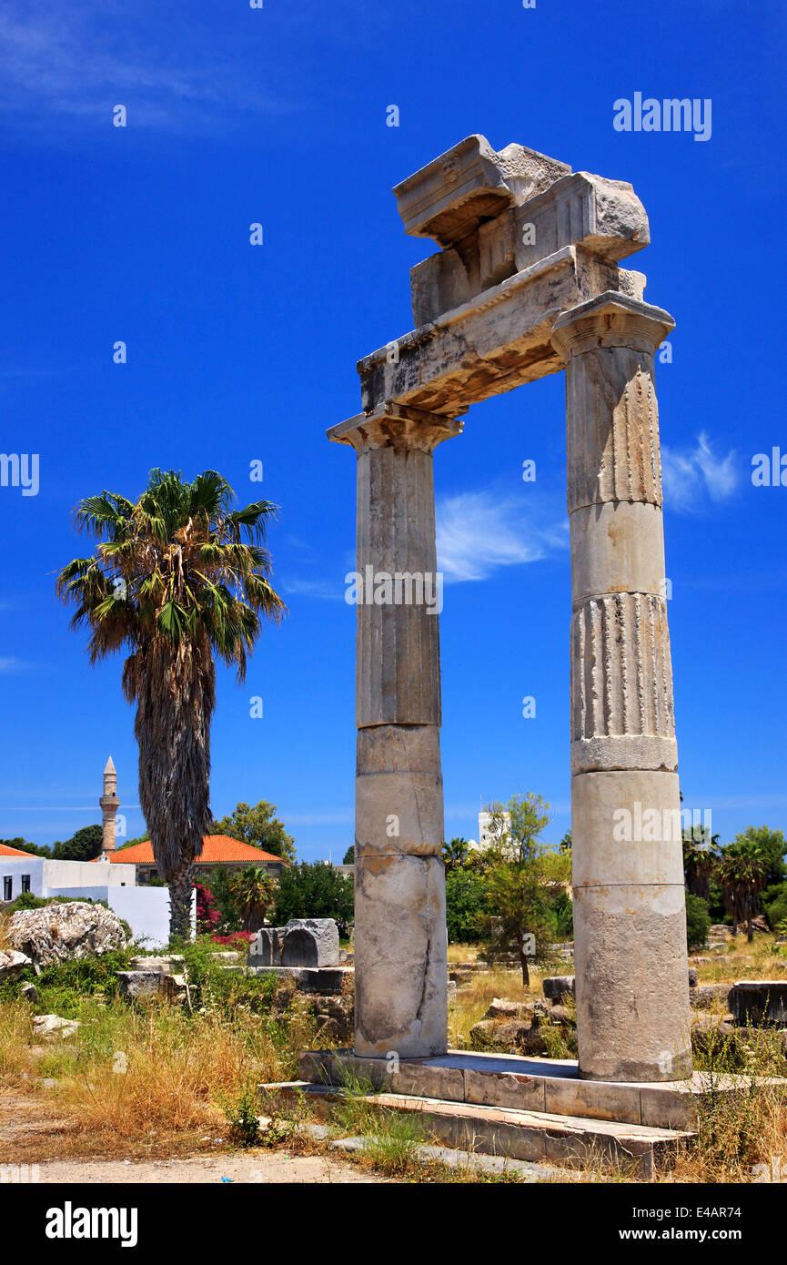 At the archaeological site of Ancient Agora, Kos town, Kos island, Dodecanese, Aegean Sea, Greece. Stock Photo