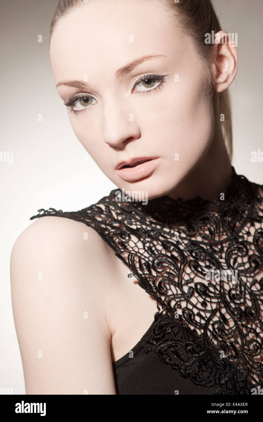 Beautiful, elegant woman with perfect make up - Stock Image