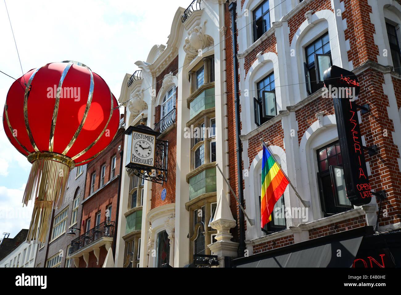 Chinese lantern decoration, Wardour Street, Chinatown, West End, City of Westminster, London, England, United Kingdom - Stock Image