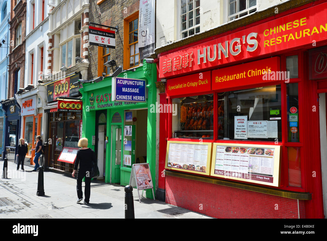 Chinese restaurants on Wardour Street, Chinatown, West End, City of Westminster, London, England, United Kingdom - Stock Image