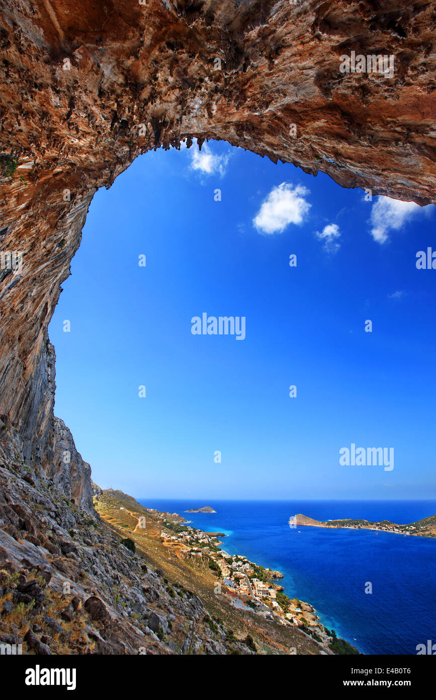 The famous 'Grande Grotta', one of the most popular climbing fields of Kalymnos island, Dodecanese, Greece. - Stock Image