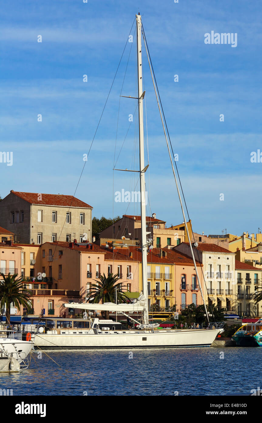 Large sailing yacht at dock in the harbor of Port-Vendres, Roussillon, Pyrenees Orientales, France Stock Photo