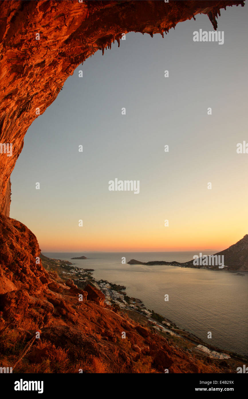 Sunset in the famous 'Grande Grotta', one of the most popular climbing fields of Kalymnos island, Dodecanese, - Stock Image