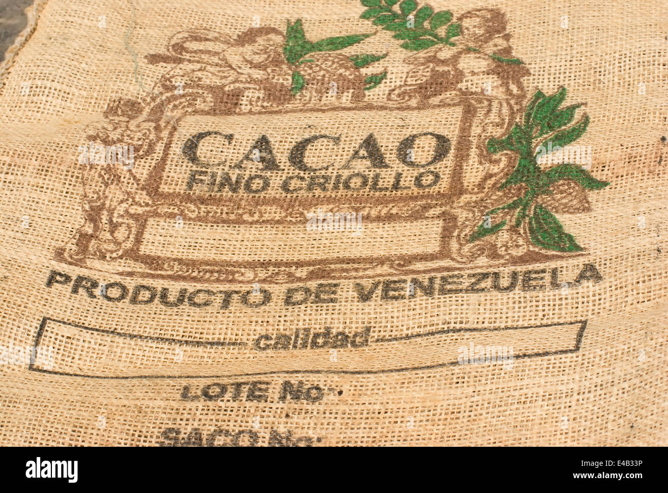 Venezuela bag of spilt cocoa beans - Stock Image