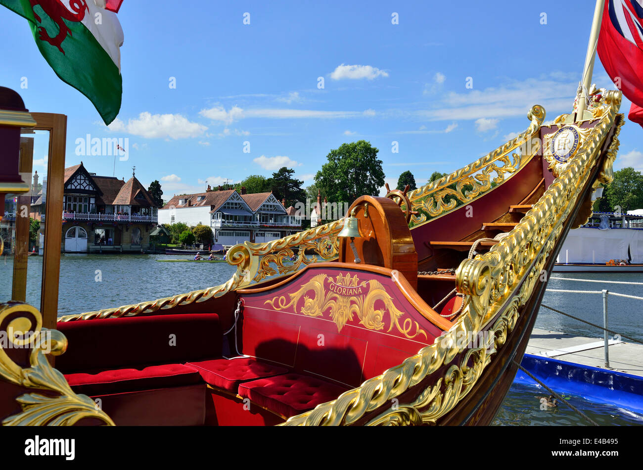'Gloriana, the rowing barge built for the Queen's Diamond Jubilee, about to take  to the water again on - Stock Image