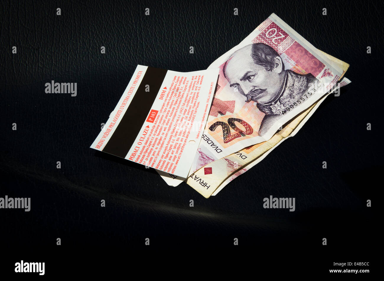 money, cash, ticket, A1 motorway, highway, Cestarina, Pay Toll Stock