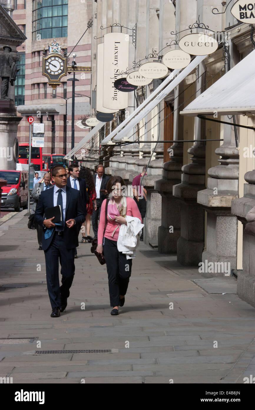 Luxury shopping Royal Exchange Cornhill City of London UK - Stock Image