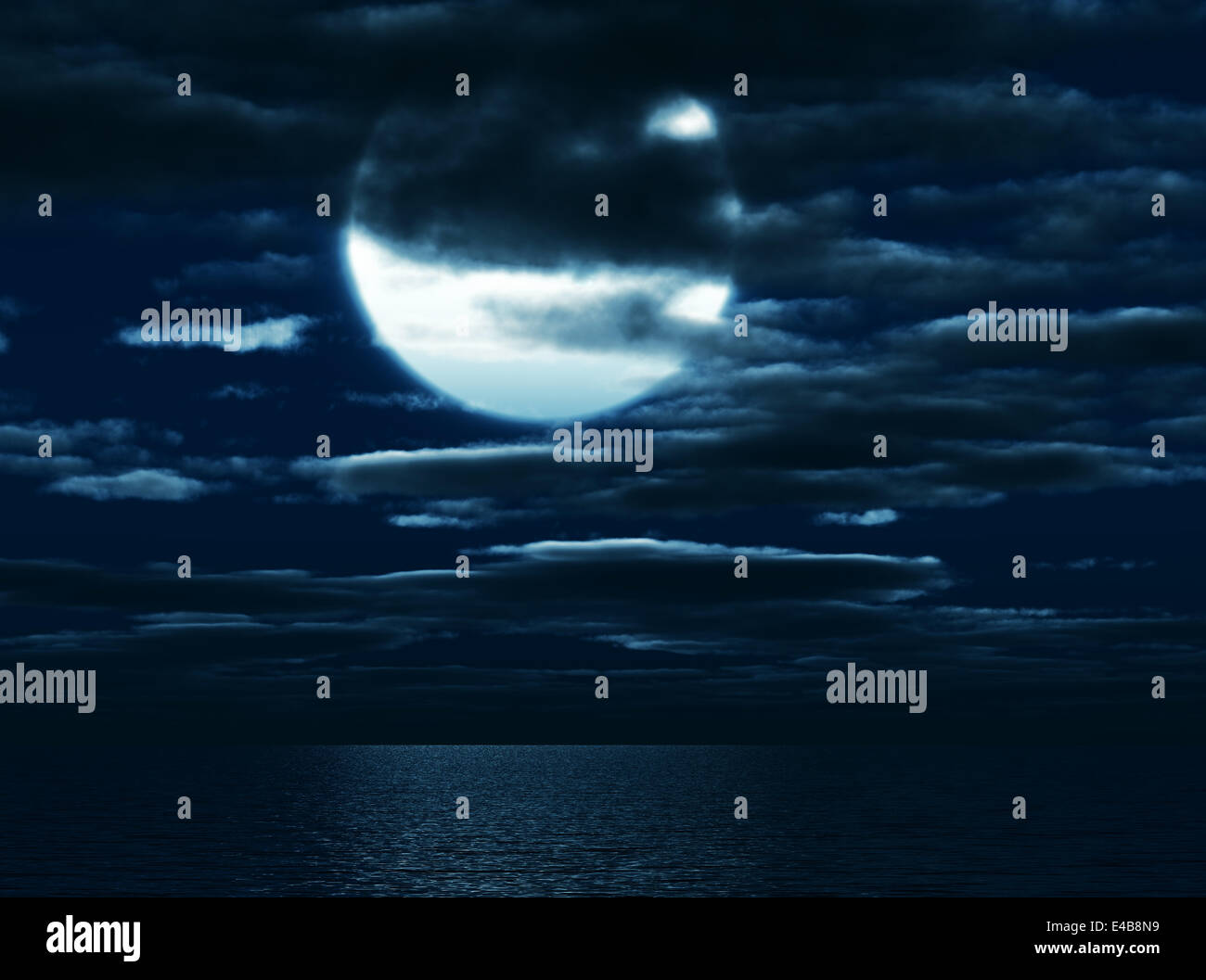 Shone circle of the moon in darkness - Stock Image