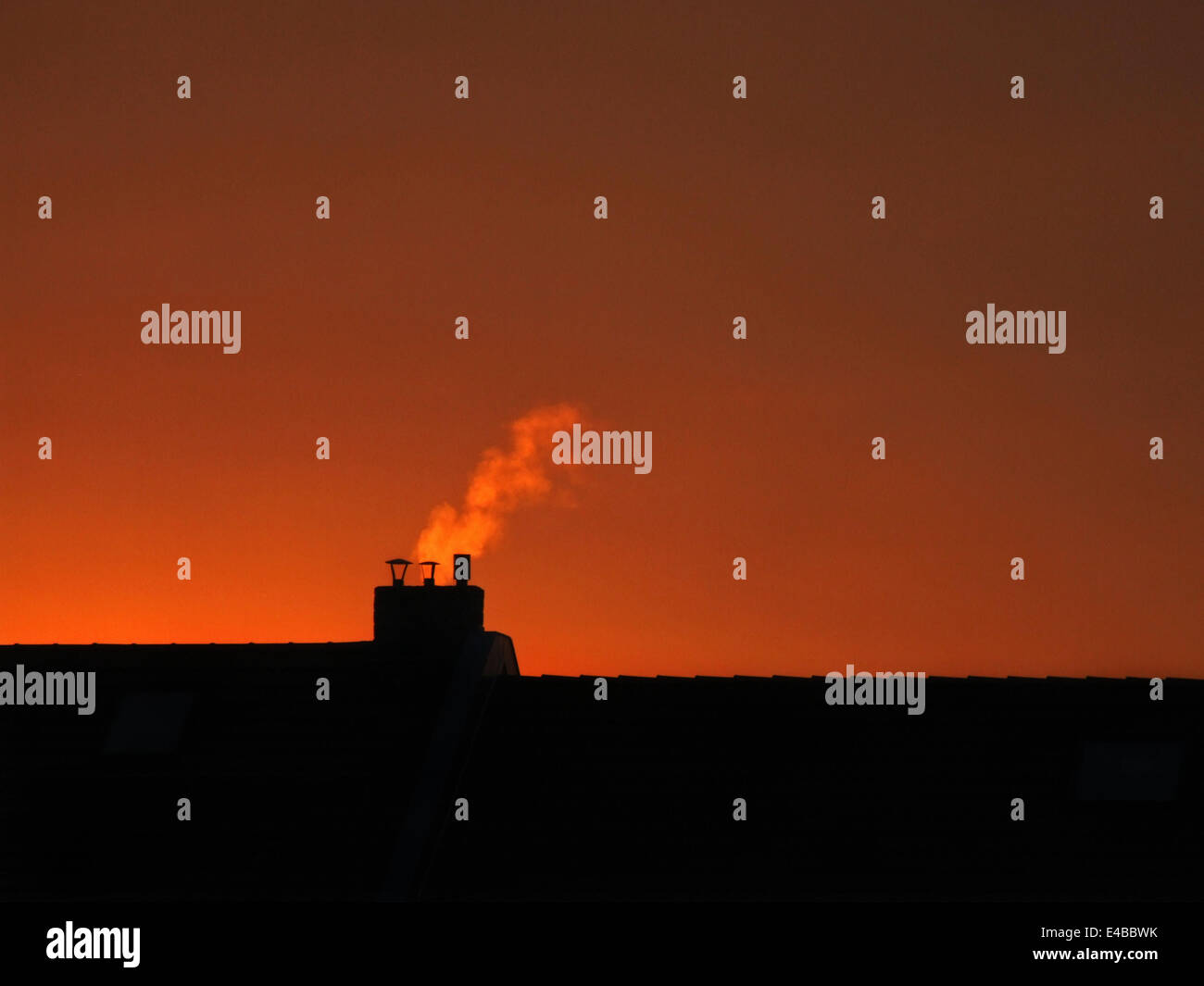 chimney at the afterglow - Stock Image
