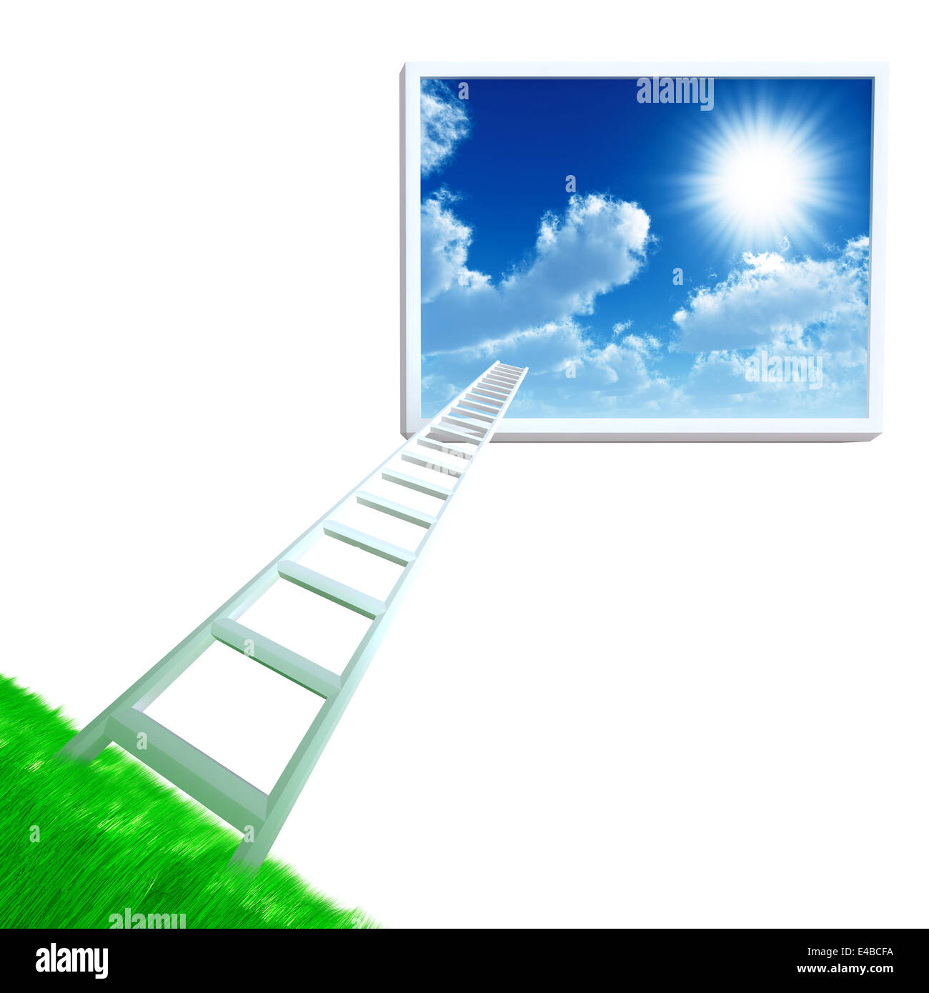 stair is get away from land in cloudy sky - Stock Image