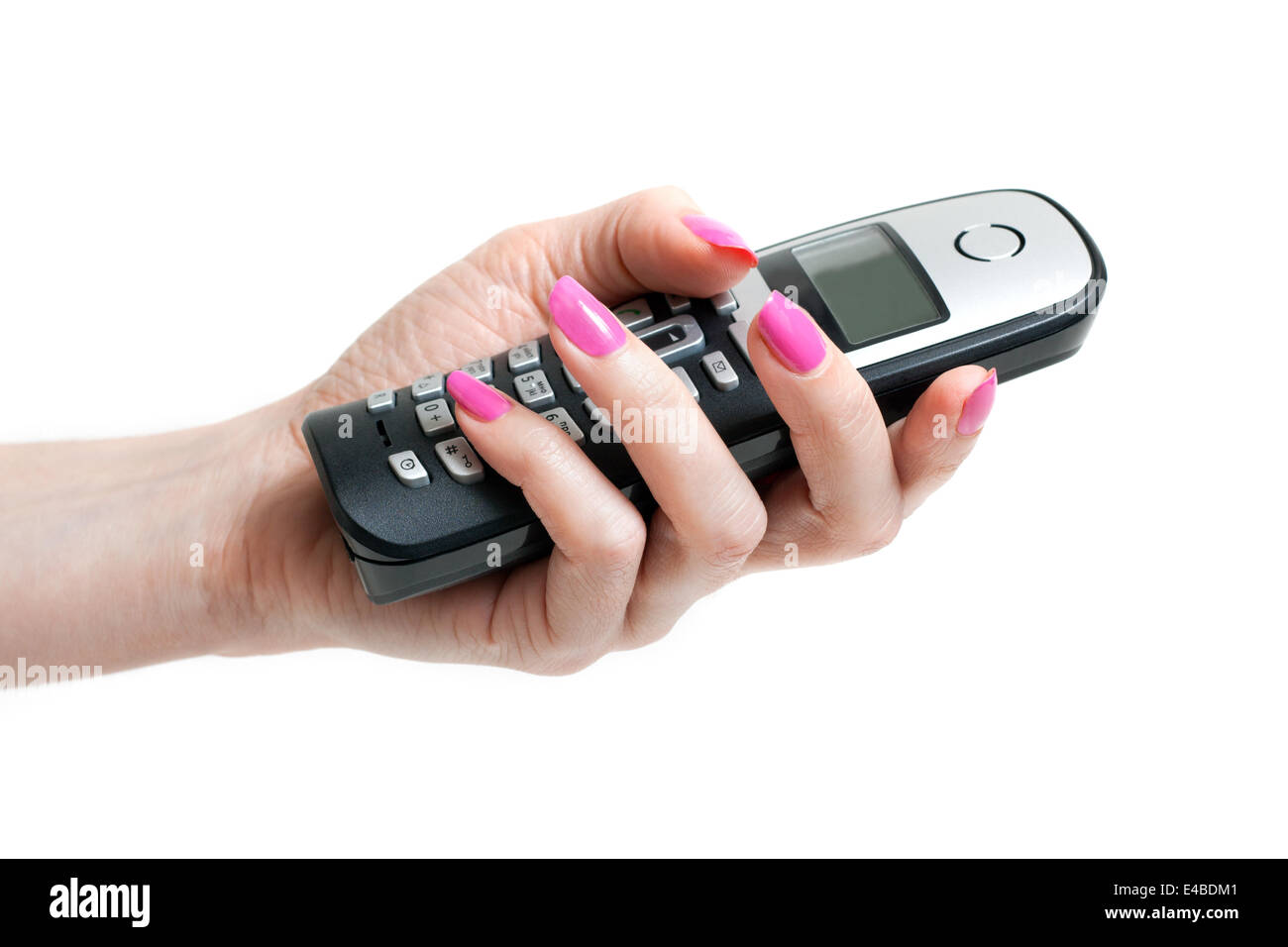 Feminine hand with telephon - Stock Image