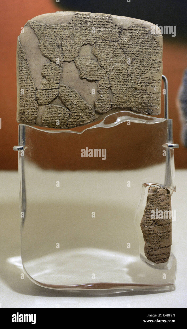 Kadesh Treaty, 1269 BC. Egyptian-Hittite Peace Treaty between Ramesses II and Hattusilis III. Terracotta. Hittite - Stock Image