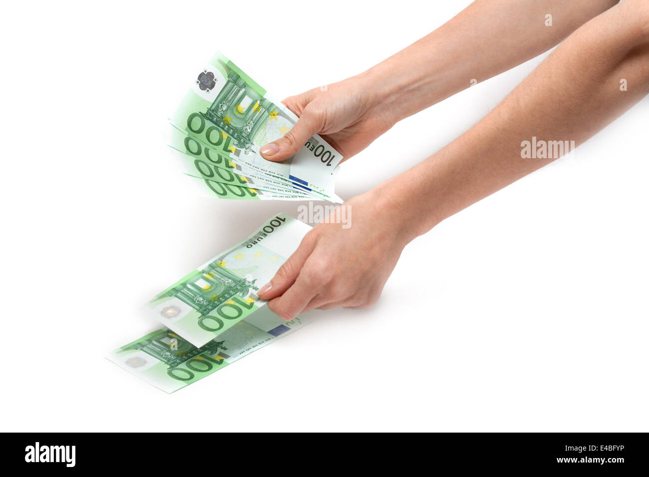 Hands considers euro - Stock Image