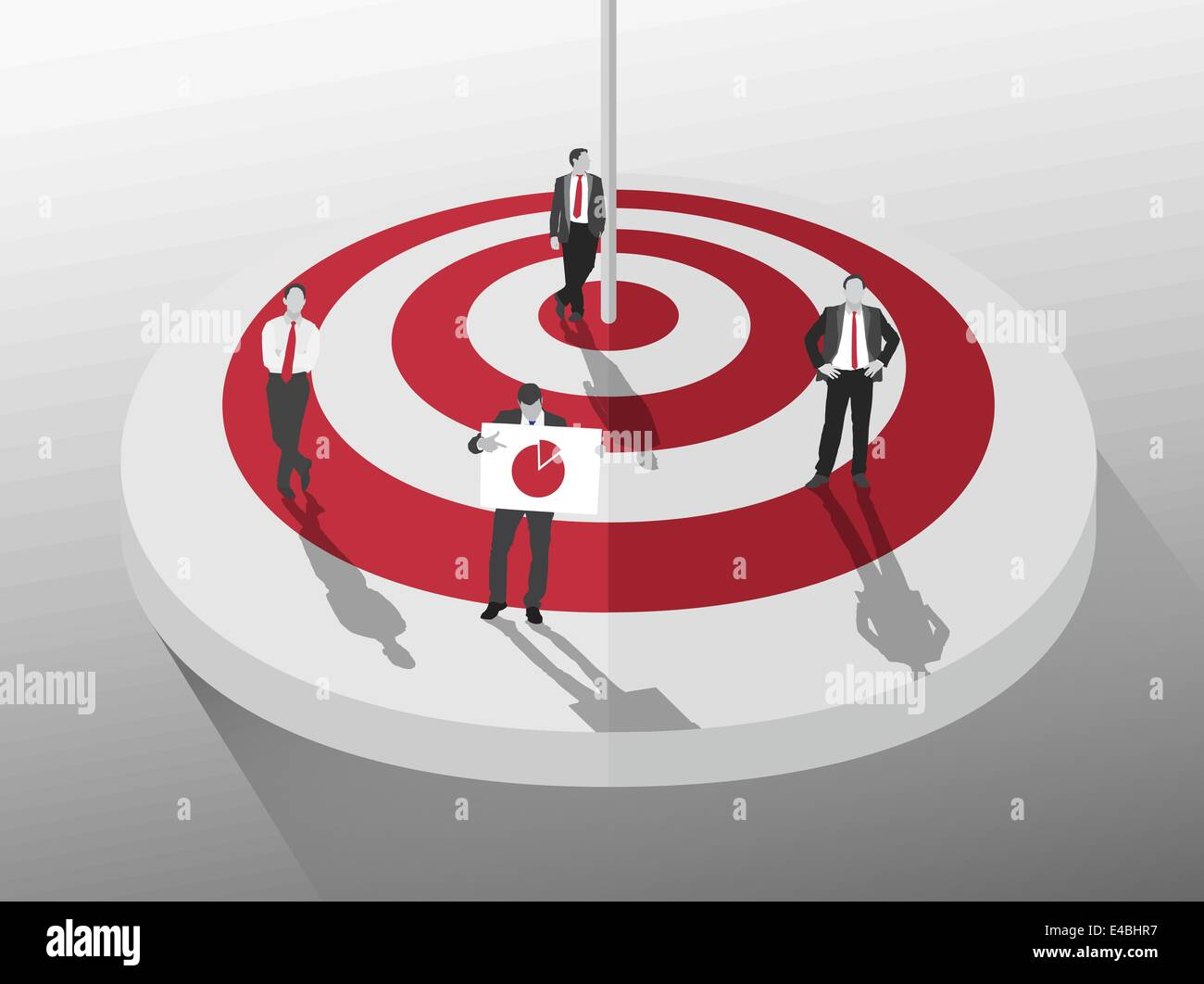 Businessmen standing around red and white target - Stock Image
