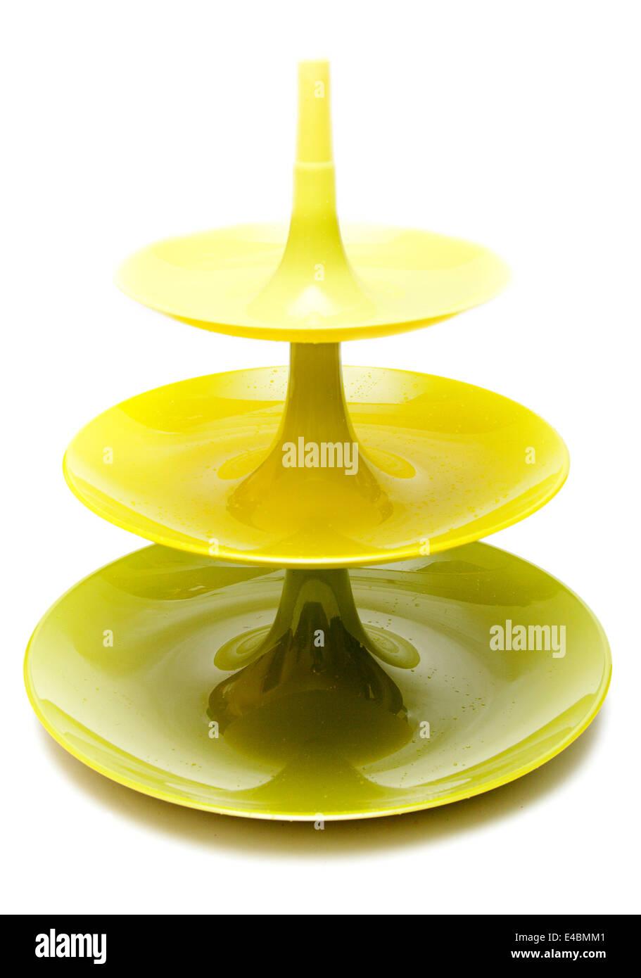 Three-story plastic green vase - Stock Image