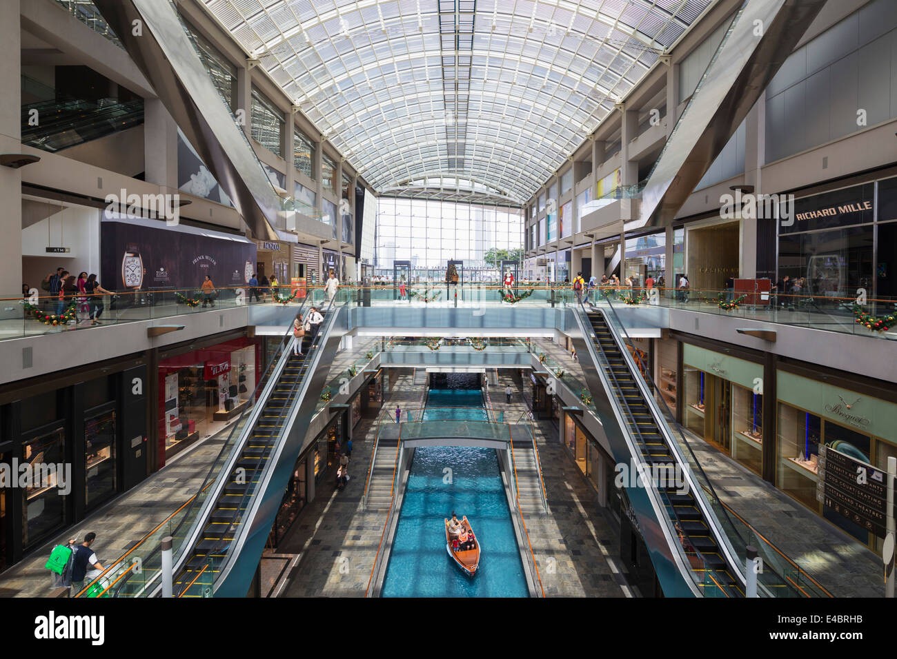 South East Asia, Singapore, canal at Marina Bay Sands Mall - Stock Image