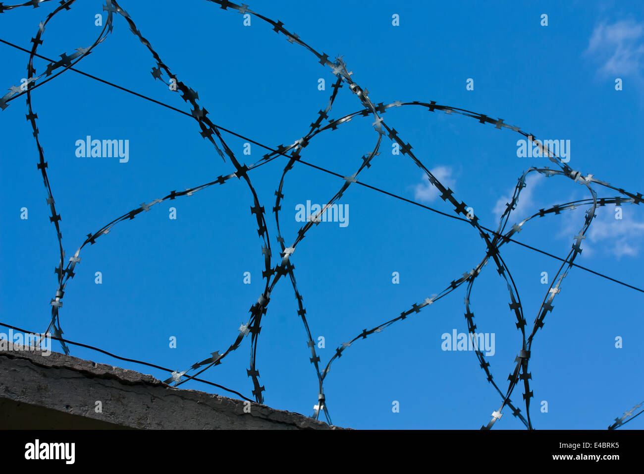 Barbed wires and blue sky - Stock Image