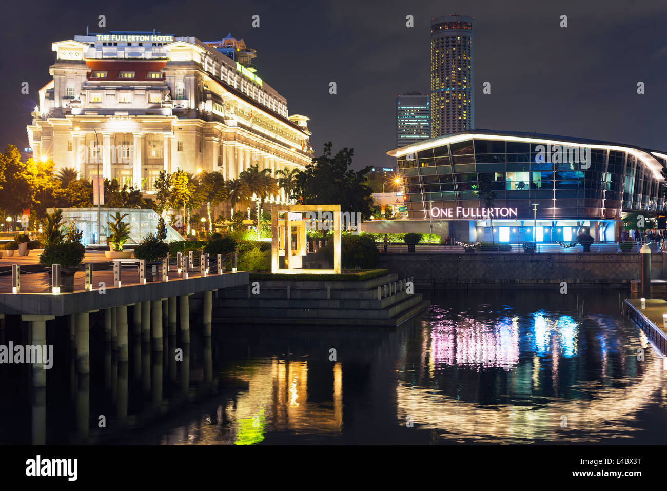 South East Asia, Singapore, Fullerton Hotel at Marina Bay - Stock Image