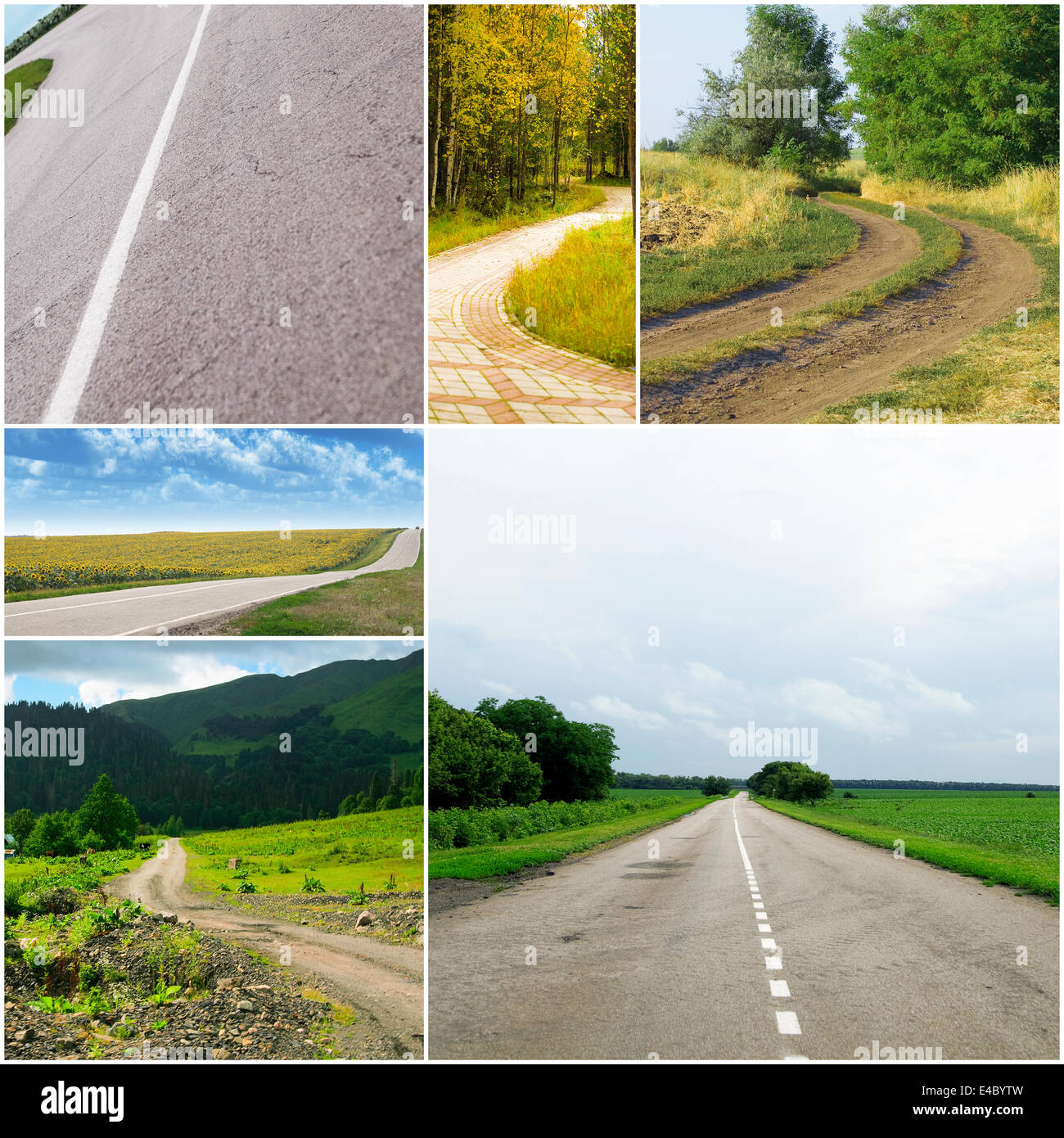 country roads in different seasons - Stock Image