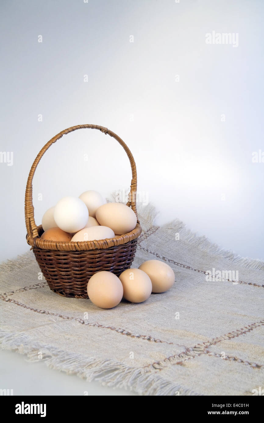 Eggs in a basket on a rag napkin - Stock Image