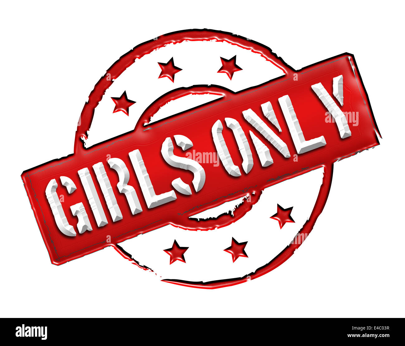 Stamp - Girls only - Stock Image