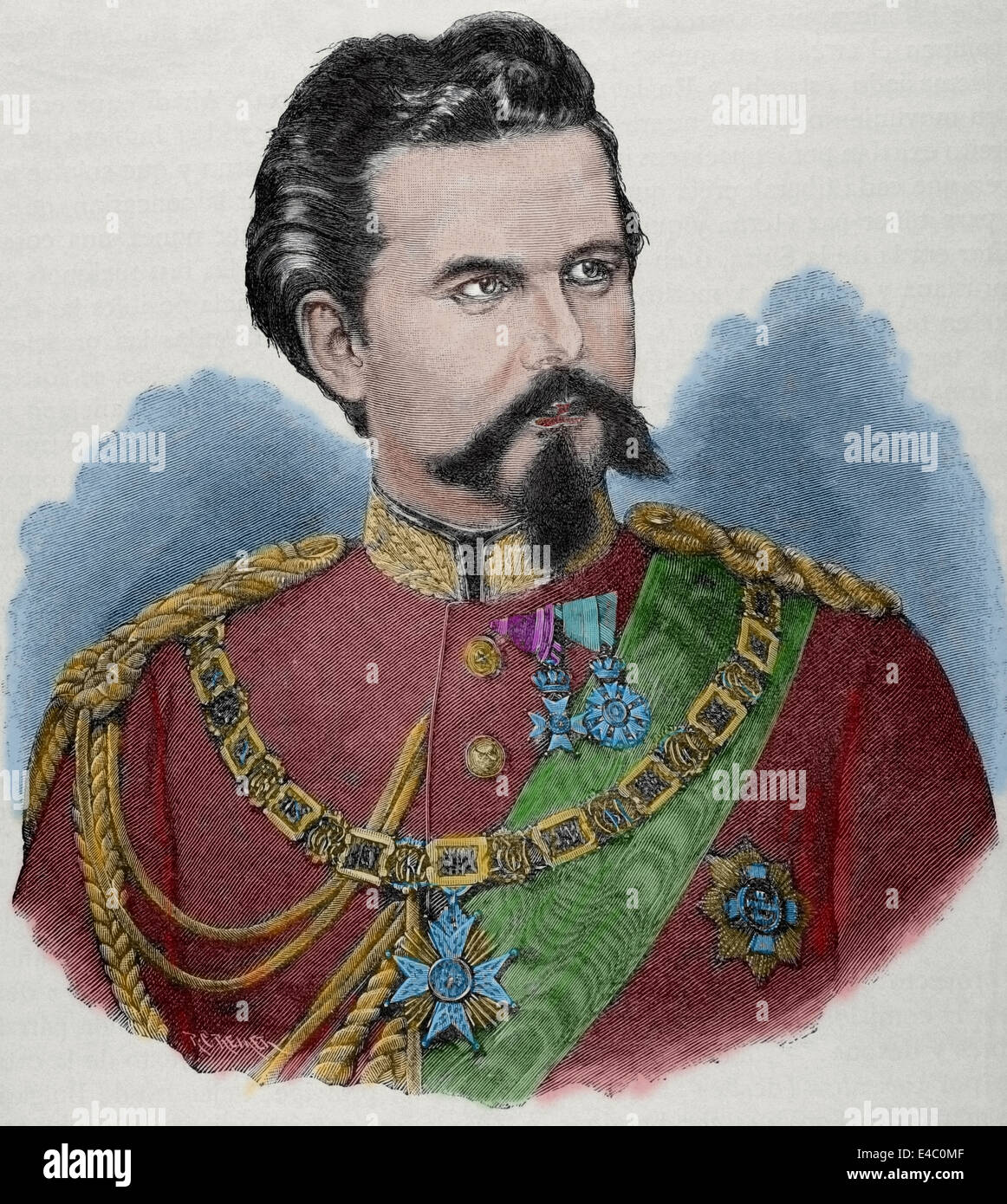 Ludwig II of Bavaria (1845-1886). King of Bavaria from 1864 until his death. Engraving by Rico. Colored. - Stock Image