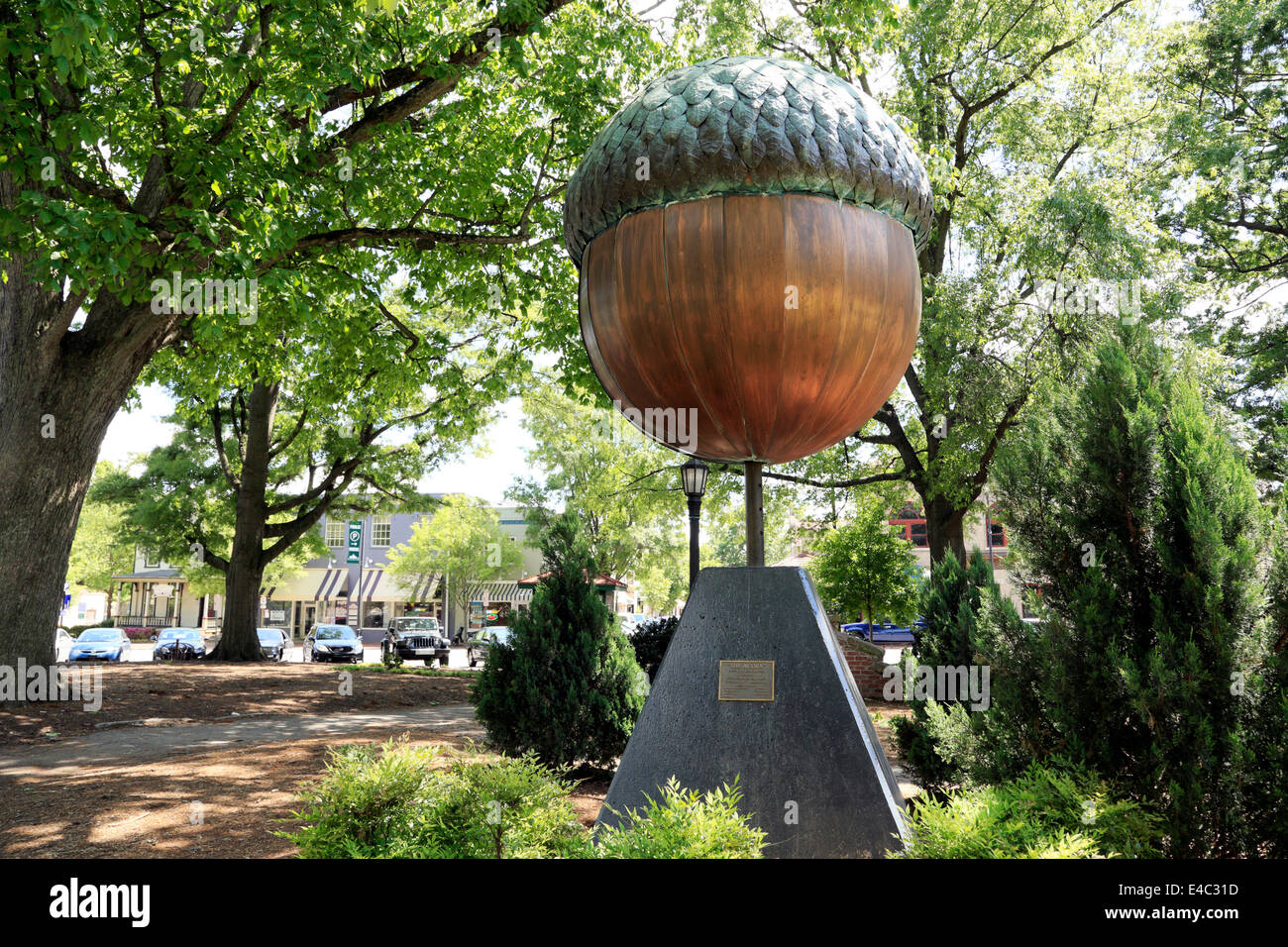 Raleigh, North Carolina. A statue of the city\'s symbol, the acorn ...