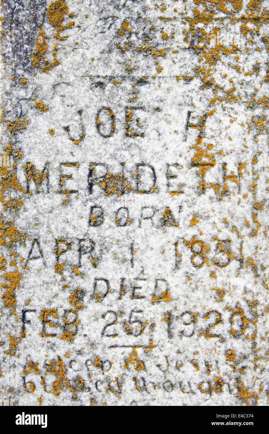 Detail of Old Grave Stone in Edmonson County, Kentucky - Stock Image