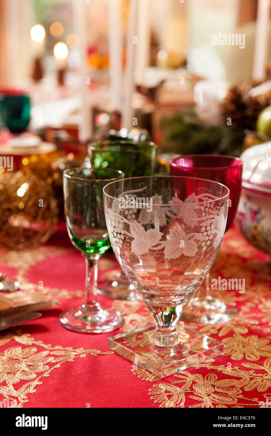 Glassware on Christmas table - Stock Image