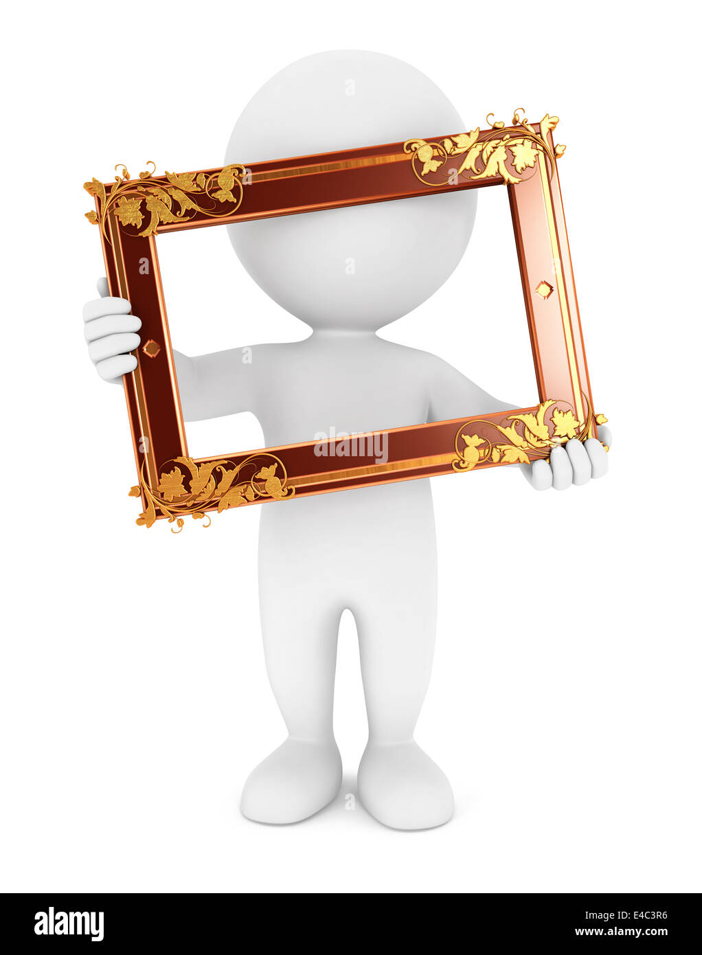 3d white people holding an old frame, isolated white background, 3d image Stock Photo