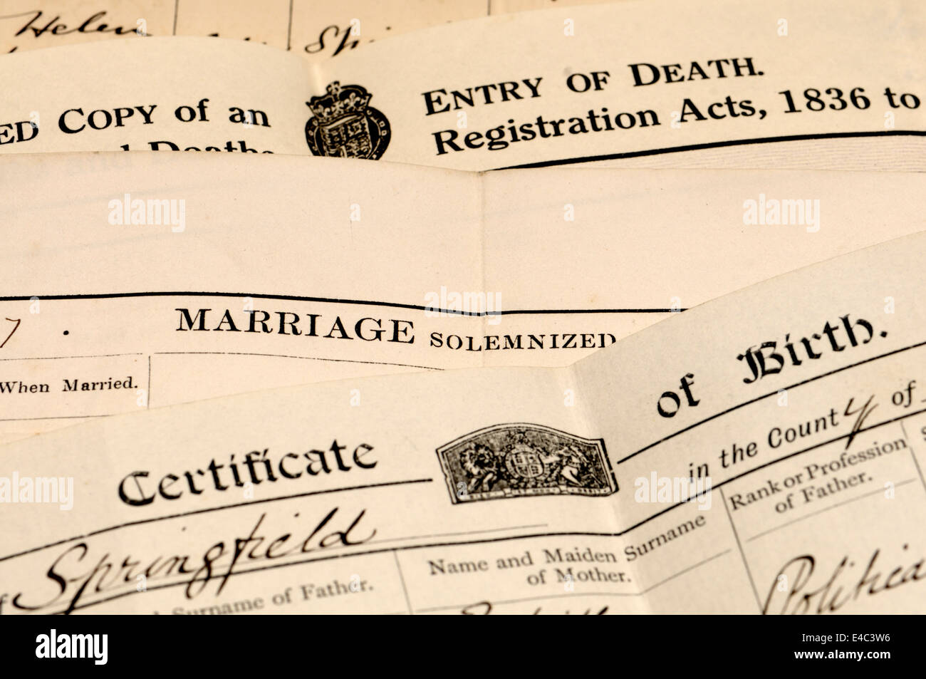 Certified copies of Birth, Marriage and Death registers - Stock Image